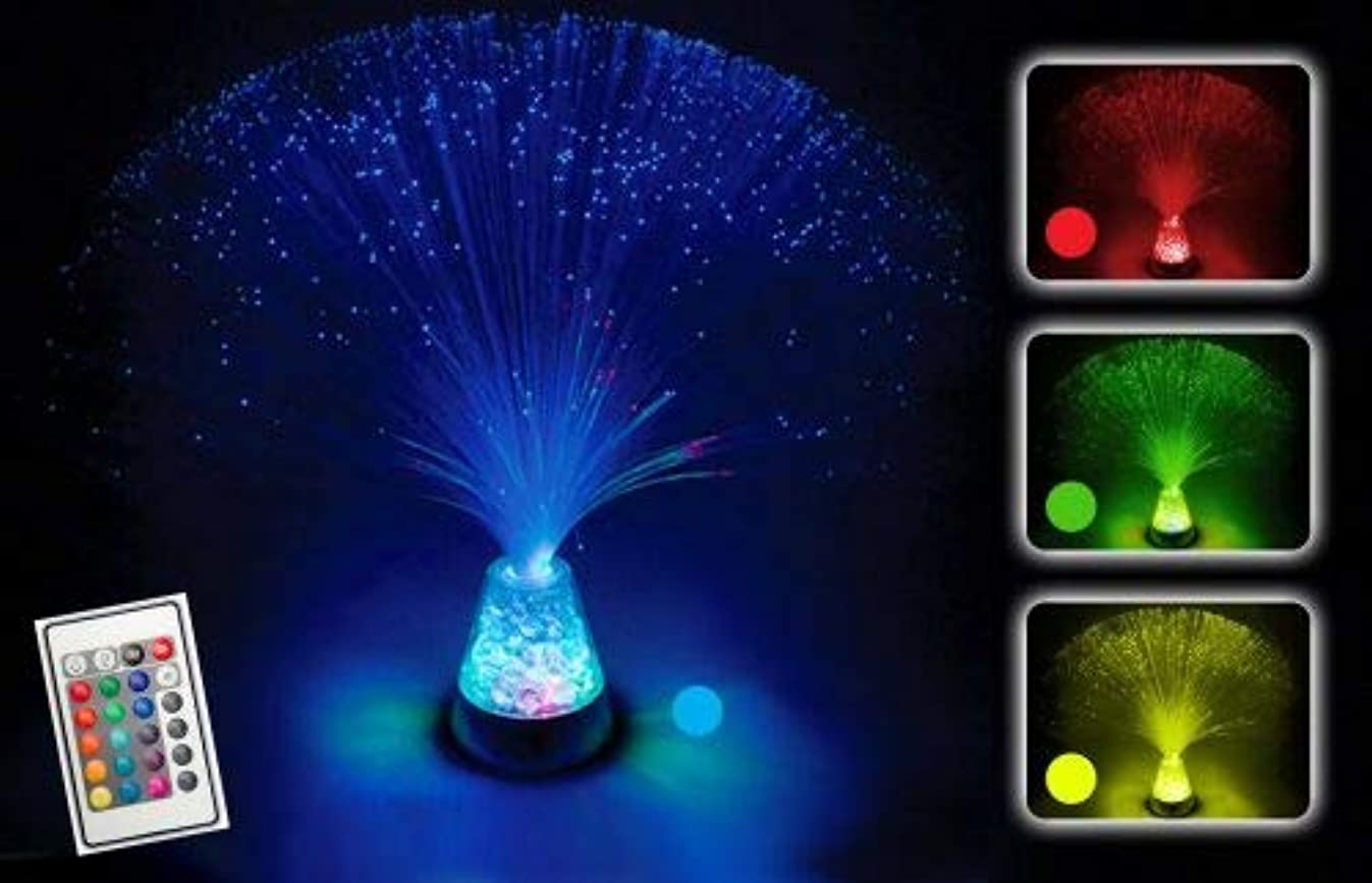 PlayLearn Fiber Optic Lamp Color Changing Crystal Base - 4 Colours - 13 inch Mood Novelty Lamp (with Remote)