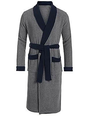 Ouyilu Men Long Sleeve Cotton Lightweight Waffle Weave Robe Kimono Spa Bathrobe Sleepwear(S-XXL)