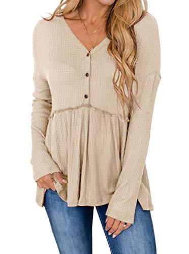 Womens Round Neck Long Sleeve Button Down Shirts High Low Hem Babydoll Peplum Tops Apricot X-Large