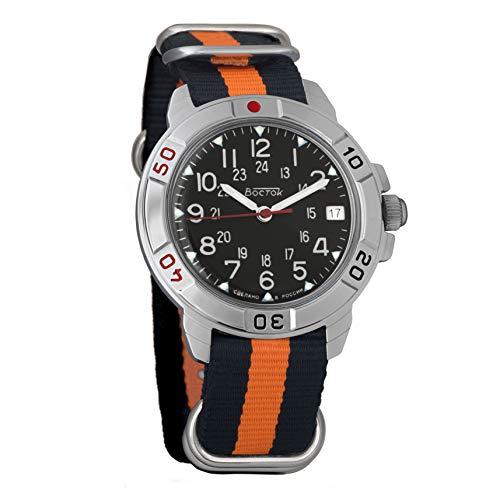 Vostok Komandirskie 2414 Reloj Militar Ruso mecánico de Cuerda Manual // 431783 (Black+Orange)
