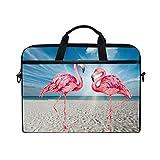 Funda para ordenador portátil de 13 a 14 y 15 pulgadas, diseño de flamencos de playa, acuarela y acuarela, bolsa de hombro, funda protectora con correa desmontable
