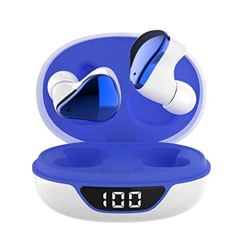 PJD Wireless Earbuds Bluetooth Headphones Premium Fidelity Sound Quality Wireless Charging Case Digital LED Intelligence Display IPX6 Waterproof Earphones Built-in Mic Headset (White Blue)