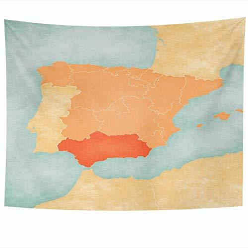 Tapices para colgar en la pared Iberia suave Andalucía España rojo Andalucía en el mapa Tierra Grunge en la Península Ibérica Tapices vintage Tapiz Manta de pared Decoración del hogar Sala de estar Do