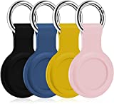 4 Pack Silicone Case for AirTags, Soft Rubber Shockproof