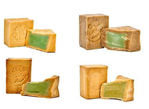 Carenesse® originele Aleppo zeep zeep Sieger pakket 4 x 200 g. Uitstekende plaatsing met laurieroliegehalte 5% 15% 20% 40% olijfoliezeep haarzeep natuurzeep douchezeep traditioneel handwerk