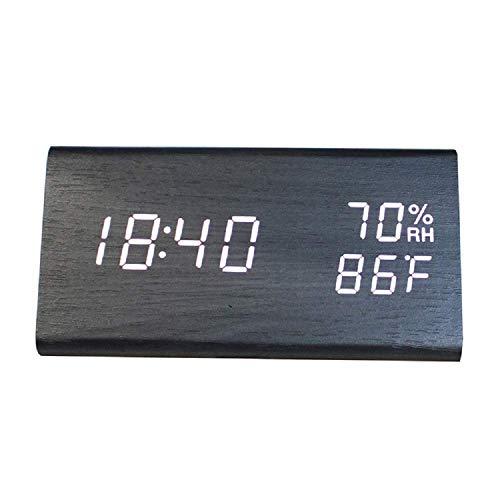 LKOER Meng Reloj de cabecera, Reloj de Alarma Ajustable Control táctil de Sonido LED Digital Reloj de Alarma con Leds de Madera Reloj de Tiempo USB con Tiempo/Fecha/Temperatura/Humedad Reloj de Viaje