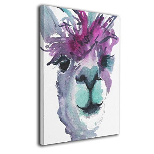 """Amonee 16""""x20"""" Canvas Wall Art Print Purple Teal Grey Alpaca Llama Framed Canvas Pictures Prints Contemporary Artwork Ready to Hang for Home Decoration Wall Decor"""