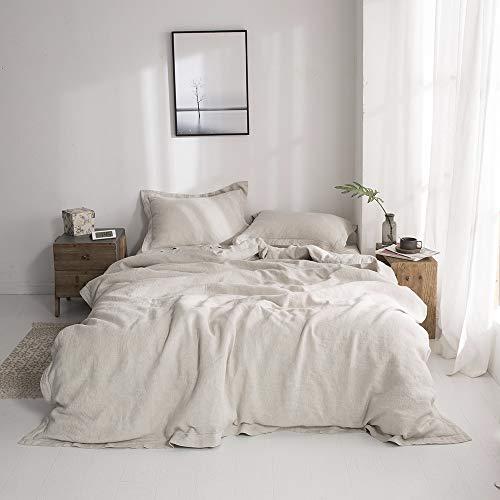 Simple&Opulence Juego de funda de edredón de lino 100% lavado a piedra, bordado sólido, 3 piezas incluye 1 funda de edredón y 2 fundas de almohada (Super King 260 cm x 220 cm), ropa de cama natural