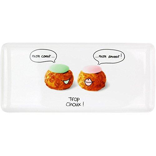 Amatable 38-1K-004 Plat rectangulaire à Dessert Trop Choux Porcelaine Blanc et Multicolore 16 x 36 cm