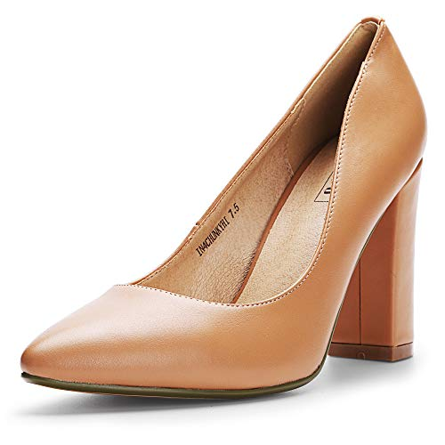 IDIFU Women's IN4 Chunky-HI Block High Heels Closed Pointed Toe Pumps Dress Office Shoes for Women (10 M US, Nude Pu)