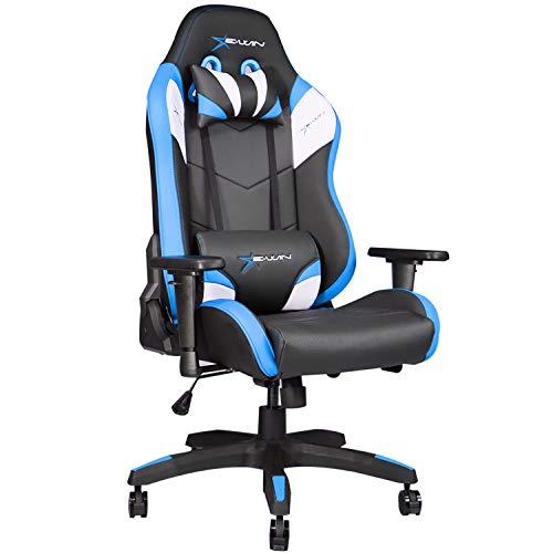 E-WIN ゲーミングチェア D9-BL(青) 高級 オフィスチェア デスクチェア パソコンチェア リクライニング 肉厚 専用オットマン取り付け可能 ひじ掛け 高さ調整 通気性 腰痛 椅子 PUレザー 最大荷重150kg