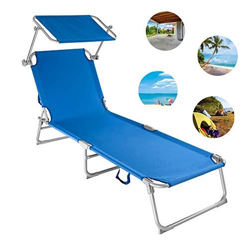 ZDiane Klappbar Liegestuhl Gartenliege Relaxliege Sonnenliege Mit Sonnendach Für Camping Outdoor Indoor, Bis 110 Kg Belastbar