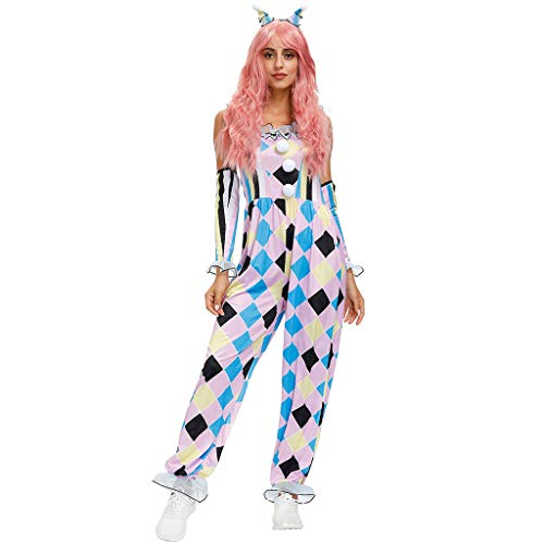 Oyrcvweuy Disfraz de payaso circo para mujer, disfraz de cosplay sin mangas, colorido mono con diadema, guantes de escenario para fiestas de carnaval