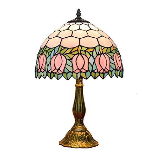 Lámpara de mesa12 \Tiffany Style Retro Creativity Pull Chain Lámpara de mesa Dormitorio Dimmer Luz nocturna, Lámpara de escritorio junto a la cama con pantalla de vidrieras para sala de estar, E27-