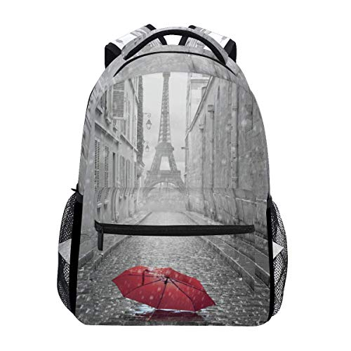 poiuytrew Paris Eiffel Tower with Red Umbrella Backpack Students Shoulder Bags Travel Bag College School Backpacks