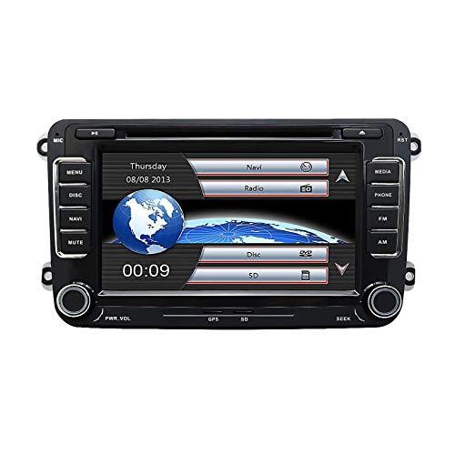 MIVPD Sat Nav 7 Pulgadas Doble DIN Auto Radio Navegación GPS Unidad Principal Pantalla táctil Estéreo para VW Skoda Seat Car Reproductor Multimedia Sat Nav SWC Cámara de Vista Trasera