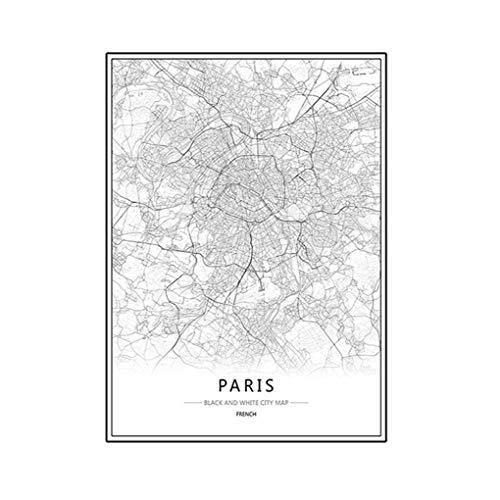 rongweiwang Londres New York, Paris Toile Peinture Murale de New York Paris Monde Carte de la Ville Affiche Noire Blanc Huile Abstraite Photo Unframed Huile Dessin