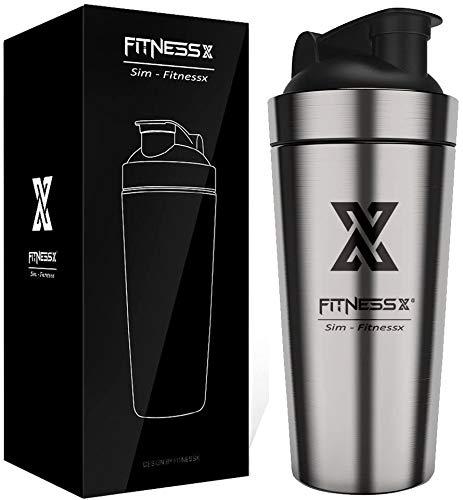 X SIM FITNESSX Double Wall 700ml Sport Fitness Edelstahl Protein Shaker Eiweiß | Protein Shaker Eiweiss Bottle