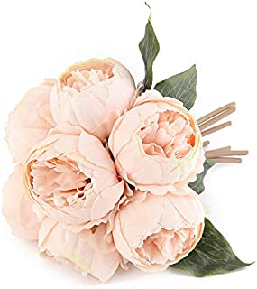 Kimura's Cabin Vintage Peony Artificial Flowers Fake Silk Peony Flower Bouquet for Home Party Decor (Champagne)