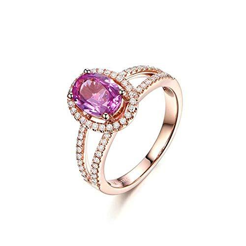Daesar Damen Ring 750 Rotgold Rosa Saphir 0.61ct Halo Trauring Rosegold Diamant Verlobungsring Gr.63 (20.1)