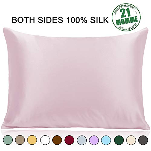 Ravmix Pillowcase Queen Size, 100% Pure Mulberry Silk Pillowcase for Hair and Skin with Hidden Zipper, 21 Momme 600 Thread Count Hypoallergenic Soft Breathable 1pcs (20×30inches, Light Plum)