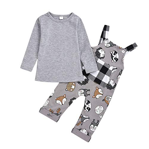 Shan-S Toddler Kids Baby Girls Boys Children's Long Sleeve Cartoon Plaid Bib Jumpsuit+Solid Color T-Shirts Tops Outfit Set
