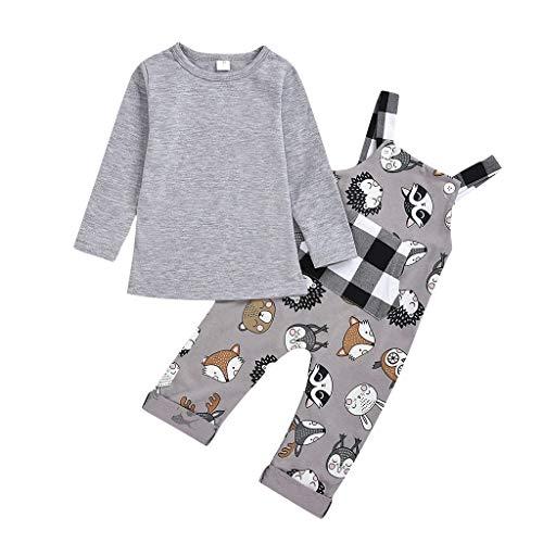 12-24 Monate Baby Outfit Jungen Herbst,TTLOVE Kleinkind Kind Baby Jungen Schön Cartoon Plaid-Overall Jumpsuit + Lange Ärmel T-Shirts Bluse Festlich Kleidung Set,2-5 Jahre(Grau,110)