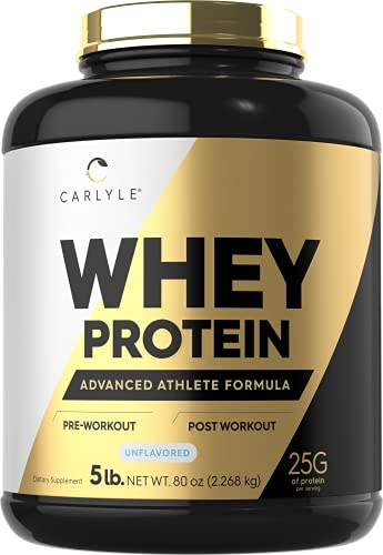 Whey Protein 5lbs   Unflavored   25G Protein   Vegetarian, Non-GMO, Gluten Free   Whey Protein Powder   by Carlyle
