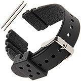 Gilden 22mm Extra-Long Black Polyurethane Sport Watch Strap 017300, fits Seiko Diver Watches