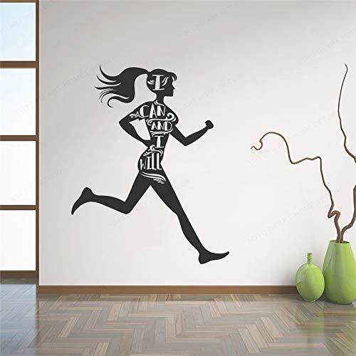 Yaonuli Vinyl stickers voor fitnessstudio inspirerende woordloper gezondheid wandsticker hoofddecoratie sticker