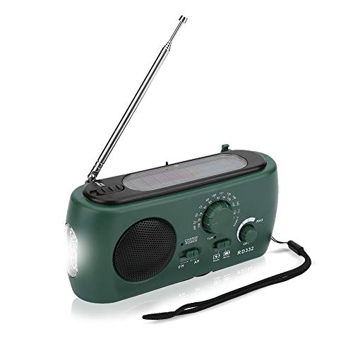 Dioche Radio de Manivela, Radio de Manivela Solar Am/FM con Cargador de Teléfono de Emergencia con Linterna LED