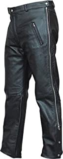 Mens Black Lined Leather Motorcycle Chap-Style Pants with Silver Hardware and side zippers