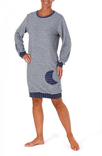Normann Copenhagen Damen Frottee Nachthemd Langarm mit Tupfen - auch in Übergrössen bis 60/62-213 93 200, Größe:36/38;Farbe:Ringel Jeans