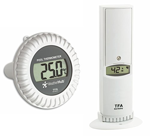 TFA Dostmann Weatherhub Thermo-Hygro-Sender mit Poolsender, 30.3310.02, Smarthome, Kontrolle der Temperatur und Luftfeuchtigkeit