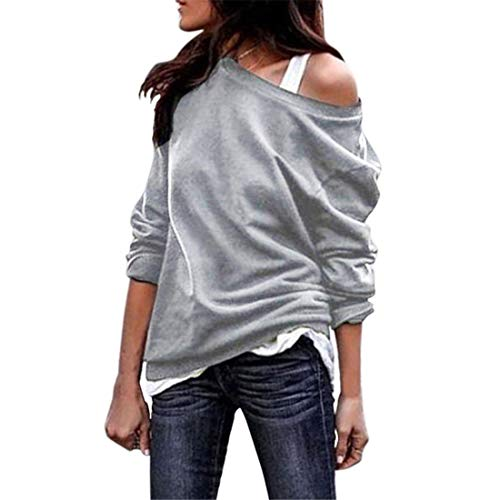 FIDOZ Womens Sexy Off Shoulder Long Sleeve Elegant Basic T-Shirt Tops Blouse Women's Casual Solid Color Cotton Linen Loose Fit Sweatshirt Jumper Pullover Tees Party Shirts for Spring Autumn