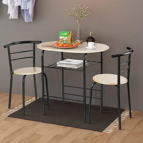 Nafort 3-Piece Round Dining Table Chairs Set for 2, Compact Table & 2 Chairs Set for Kitchen Space-Saver Bistro Set Steel Frame w/Storage Shelf, Natural/Black