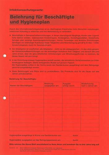 Infektionsschutzgesetz - Belehrung für Beschäftigte und Hygieneplan - mit Desinfektions- und Reinigungsplan § 43 Infektionsschutzgesetz