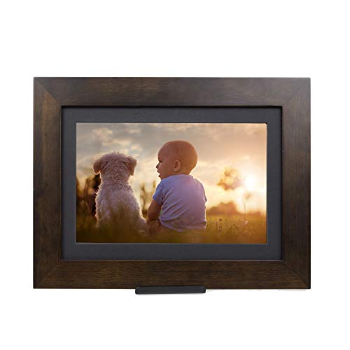 PhotoShare Friends and Family Smart Frame Digital Photo Frame, Send Pics from Phone to Frame, WiFi, 8 GB, Holds Over 5,000 Photos, HD, 1080P, iOS, Android (8', Espresso)
