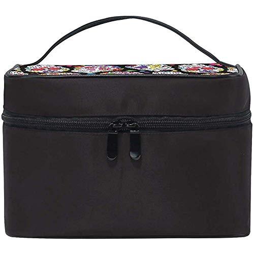 Skull Cosmetic Bag Trousse da toilette Borsa portatile multifunzione per appendere il trucco con custodia impermeabile e Girls-XZ7-ZPOR