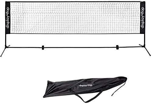 Display4top Tennisnetz Verstellbares, faltbares, tragbares BadmintonNetz für Tennis, Pickleball, Kinder-Volleyball - Einfaches Aufbau-Nylon-Sportnetz mit Stäben (3m)