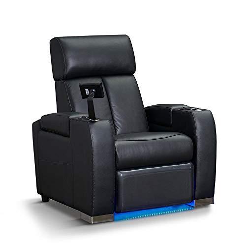 Zinea Kinosessel Action - 1 Sitzer - Echtleder, elektrisch verstellbar, LED Becherhalter, Ambientebeleuchtung, Kinosofa, Kinositz - Sofort Lieferbar