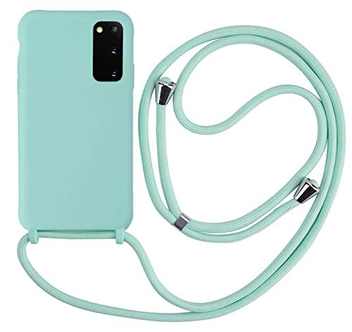MEIVS Funda Compatible con Samsung Galaxy S20 Plus, Ajustable Collar Correa de Cuello CordónCarcasa de Silicona-Verde Claro