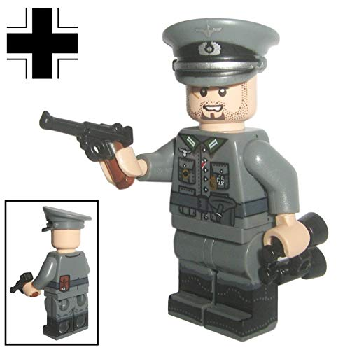 Custom Brick Design - WW2 Serie - Deutscher Offizier V.1 Figur - modifizierte Minifigur des bekannten Klemmbausteinherstellers & somit voll kompatibel zu Lego