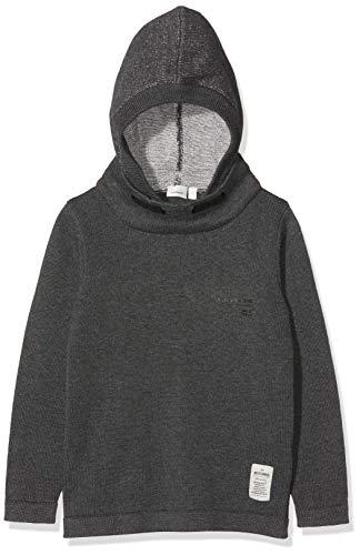 NAME IT Jungen NKMNOOD LS Knit WH Pullover, Grau (Dark Grey Melange Dark Grey Melange), 122/128 (Herstellergröße: 122-128)