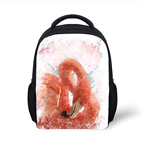 Kids School Backpack Flamingo,Flamingo Bird with Fairy Feather Watercolor Paint Effect Nature Art Work Print,Orange White Plain Bookbag Travel Daypack