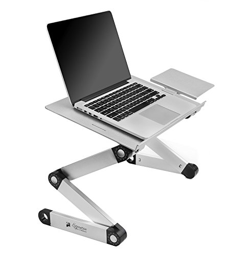 Executive Office Solutions Portable Adjustable Aluminum Laptop Desk/Stand/Table Vented w/CPU Fans Mouse Pad Side Mount-Notebook-MacBook-Light Weight Ergonomic TV Bed Lap Tray Stand Up/Sitting-Silver…
