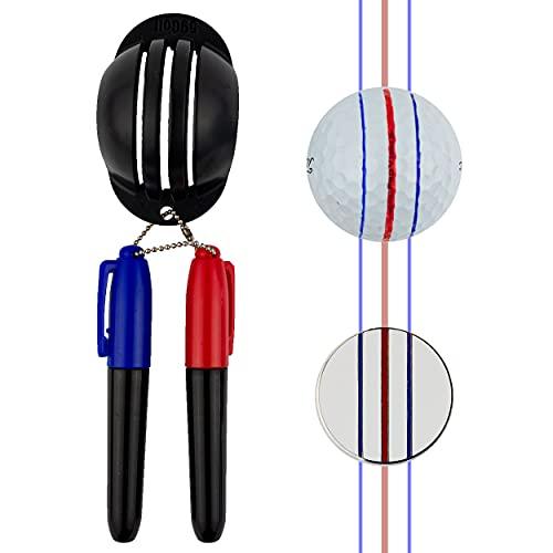 59Golf - Bola de Golf Marcador de Triple línea + marcadores permanentes (Rojo y Azul + ficha de póker)