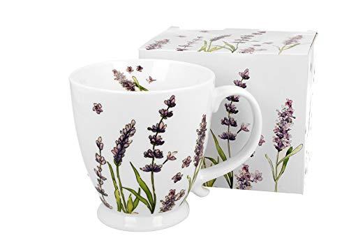 Duo, tazza grande XXL con motivo floreale lavanda, 420 ml, in porcellana, tazza da caffè, regalo per ufficio, tazza da tè, cappuccino, tazza gigante, tazza da caffè