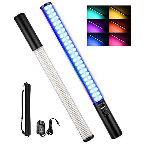Leuchtstab LED Video Light Wand mit RGB 0-1530 ° Vollfarben, zweifarbiger Temperaturbereich 2500K-8500K, 7,4V 5200mAh Eingebaute Lithiumbatterie, OLED-Bildschirm, 10-Szenen-Simulation