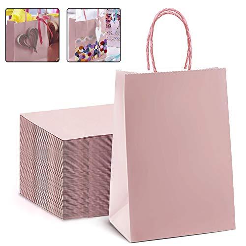25 Stück Papiertüten aus Kraftpapier, Papiertüten mit Henkel, Geschenktüten, Geschenktüten Papier Natural, Geschenkverpackung, Kann für Partys, Kunsthandwerk, Dekoration, 17 * 8 * 23cm (Rosa)